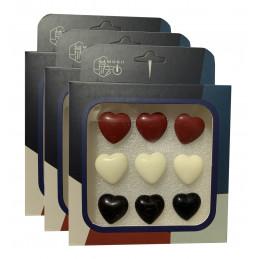 Conjunto de 27 chinchetas lindas en cajas (modelo: corazones, rojo, blanco y negro)  - 1