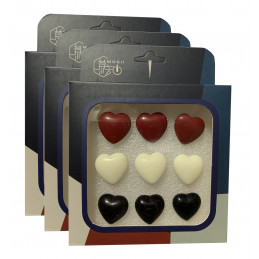 Set of 27 cute thumbtacks in boxes (model: hearts, red, white and black)  - 1