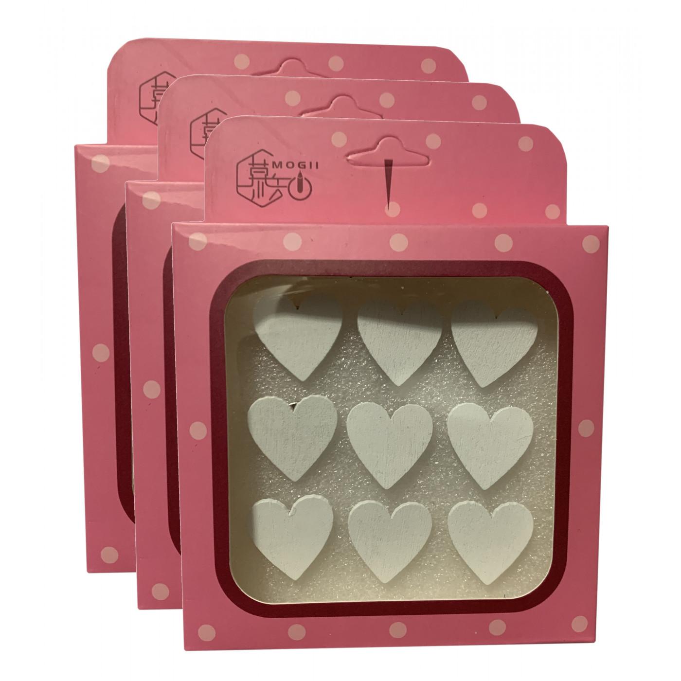 Set van 27 leuke punaises in doosjes (model: hartjes, wit