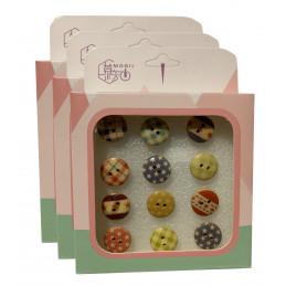 Zestaw 36 ślicznych pinezek w pudełkach (model: małe guziki)  - 1