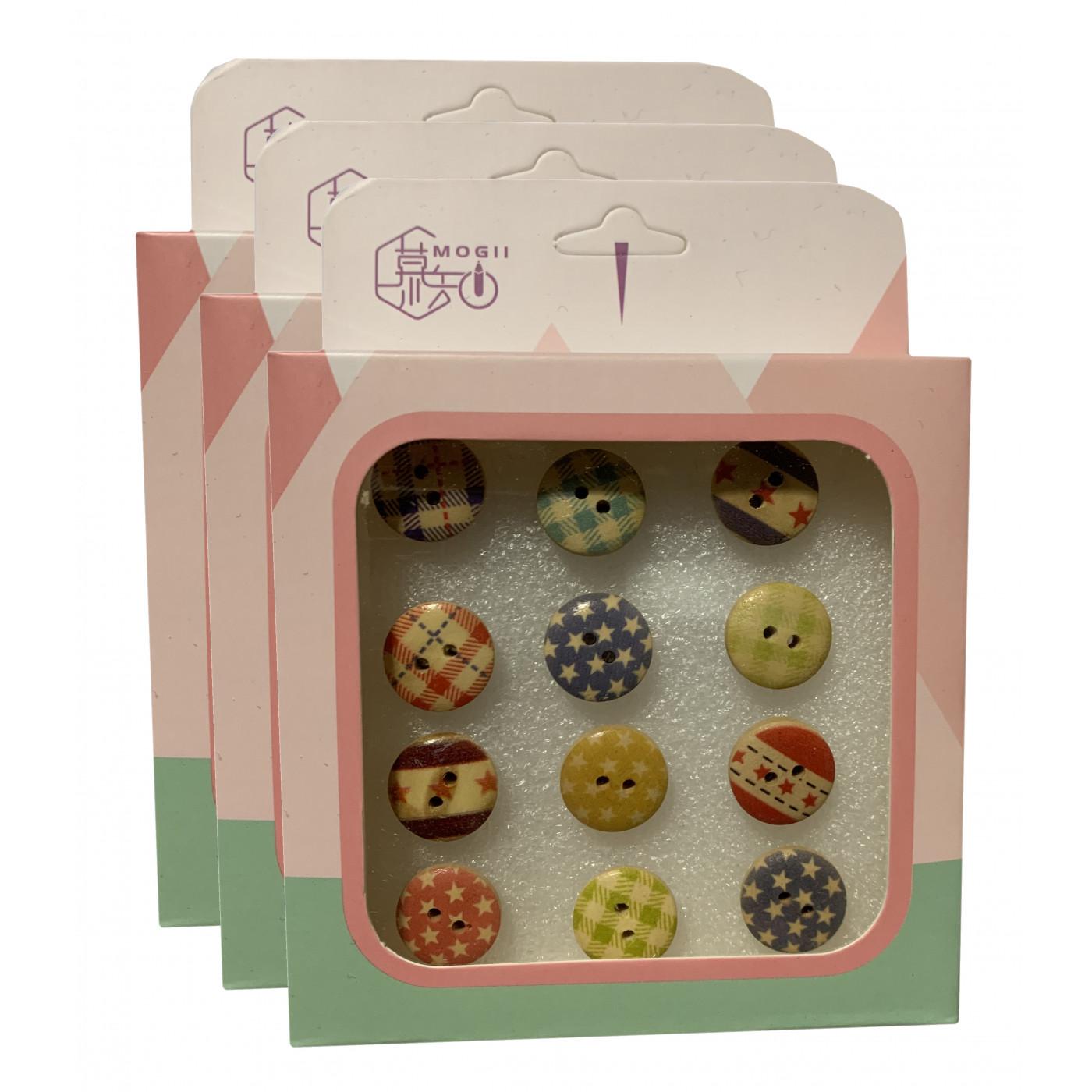 Set von 36 süßen Reißnägeln in Schachteln (Modell: kleine Knöpfe)  - 1