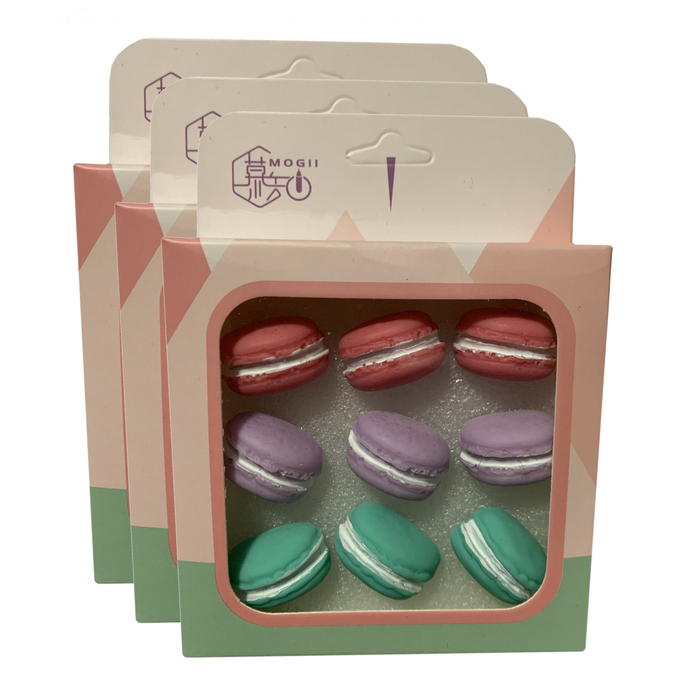 Lot de 27 punaises mignonnes dans des boîtes (modèle: macarons)
