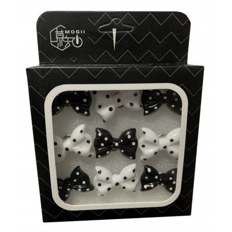 Set of 27 cute thumbtacks in boxes (model: bows, black and white)  - 1