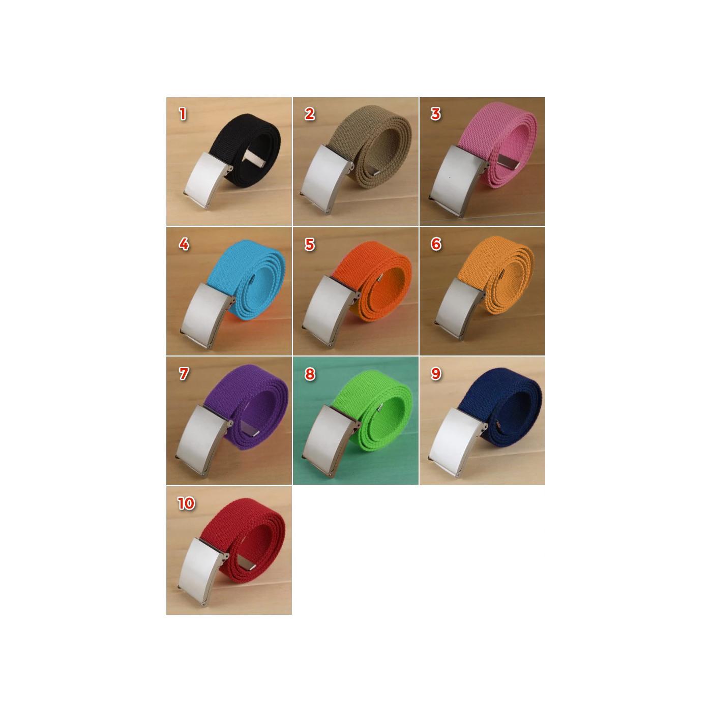 Set von 5 einfachen, lässigen Gürteln, Khaki (Farbe 2)  - 1
