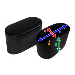 Set van 32 flexibele stoelpootdoppen (omdop, ovaal, 15x30 mm, zwart) [O-OV-15x30-B]  - 2