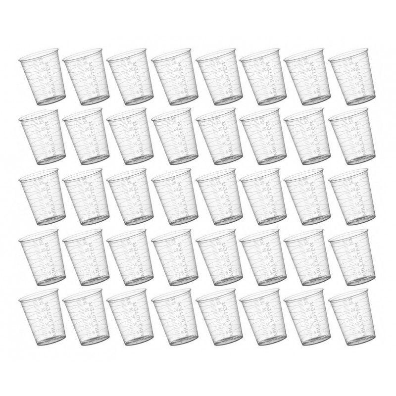 Lot de 40 gobelets doseurs en plastique (30 ml, matériau PP
