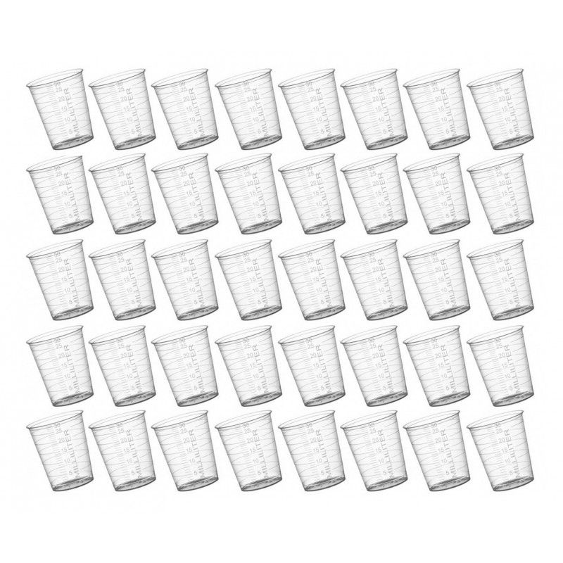 Set of 40 plastic measuring cups (30 ml, PP material, for frequent use)  - 1