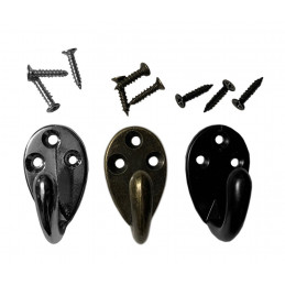 Set of 6 small metal clothes hooks, coat hangers (color: black)  - 1