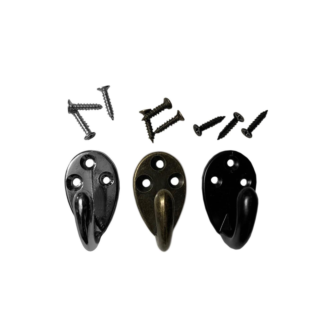 Set of 6 small metal clothes hooks, coat hangers (color: black)  - 1