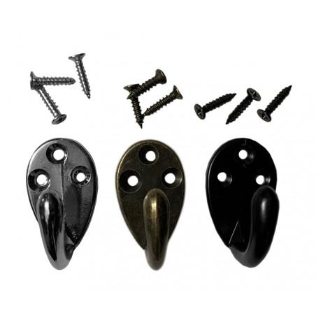Set of 6 small metal clothes hooks, coat hangers (color: black)