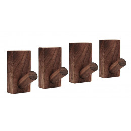 Set of 4 sturdy clothes hooks for jackets and bags (walnut