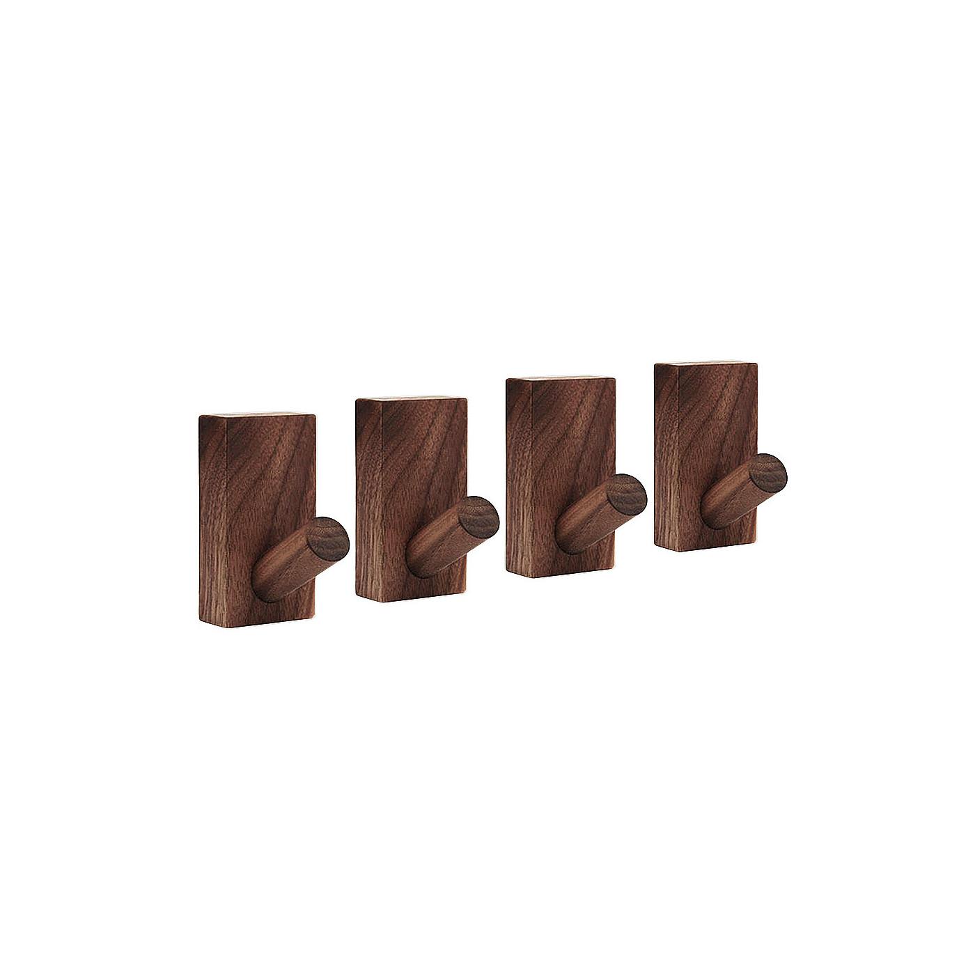 Set van 4 stevige kledinghaken voor jassen en tassen (licht noten)  - 1