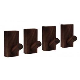 Set di 4 robusti ganci appendiabiti per giacche e borse (noce