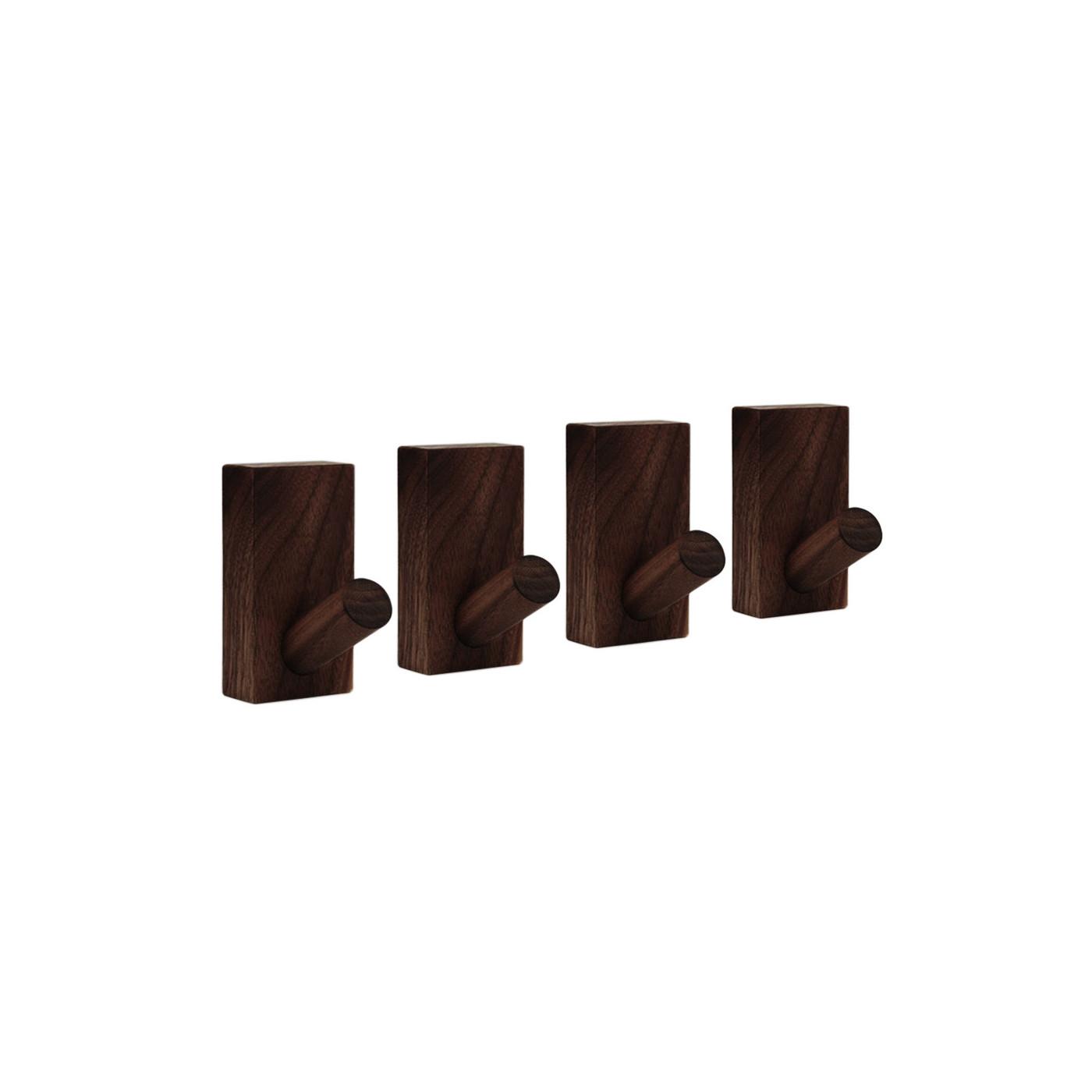 Set von 4 stabilen Kleiderhaken für Jacken und Taschen (Walnuss dunkel)  - 1