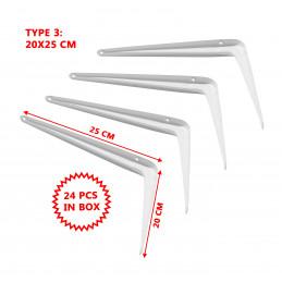 Set von 24 Metallregalstützen (Typ 3, 20x25 cm, weiß)