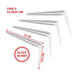 Set van 24 metalen plankendragers (type 1, 12.5x15 cm, wit)