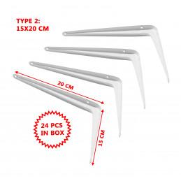 Set van 24 metalen plankendragers (type 2, 15x20 cm, wit)