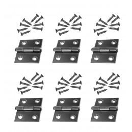 Conjunto de 6 bisagras de acero inoxidable (tamaño 1: 28x25 mm)  - 1