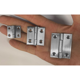 Set of 6 stainless steel hinges (size 1: 28x25 mm)