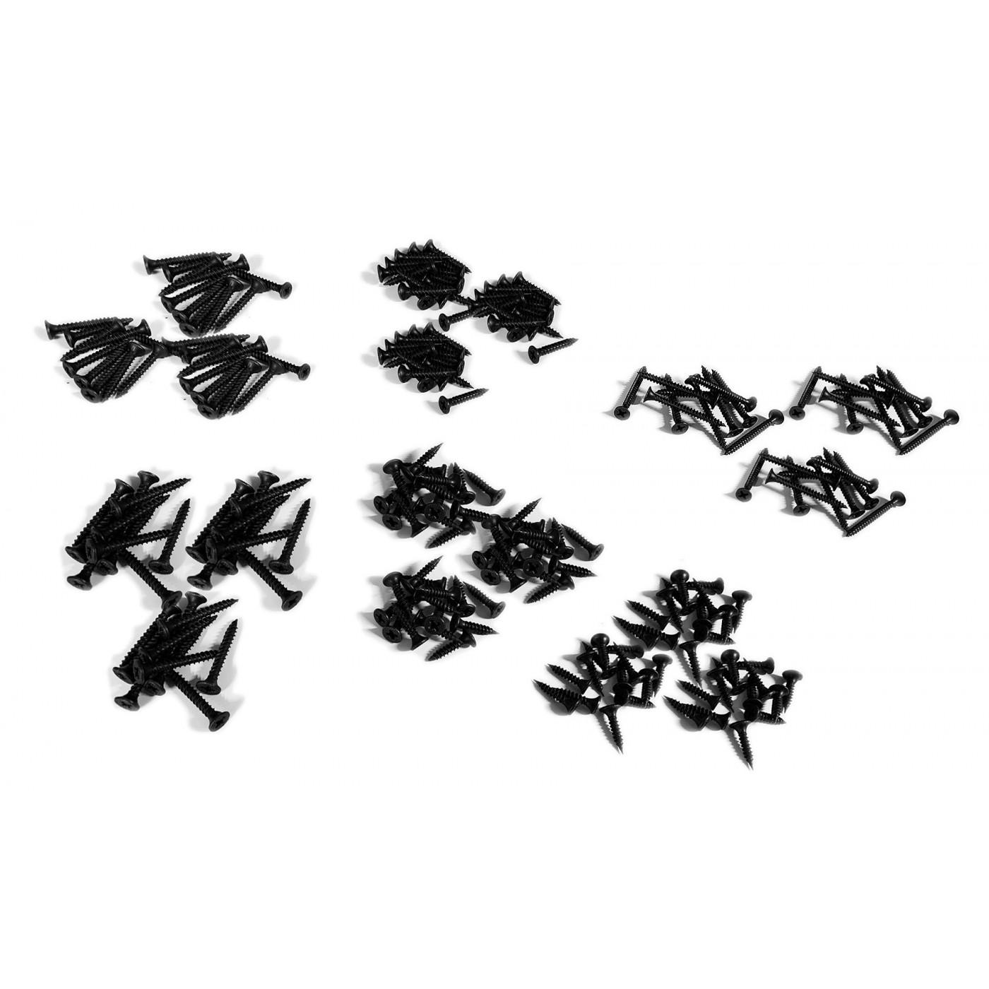 Set von 210 schwarzen Schrauben (für Holz, Gipskartonplatten