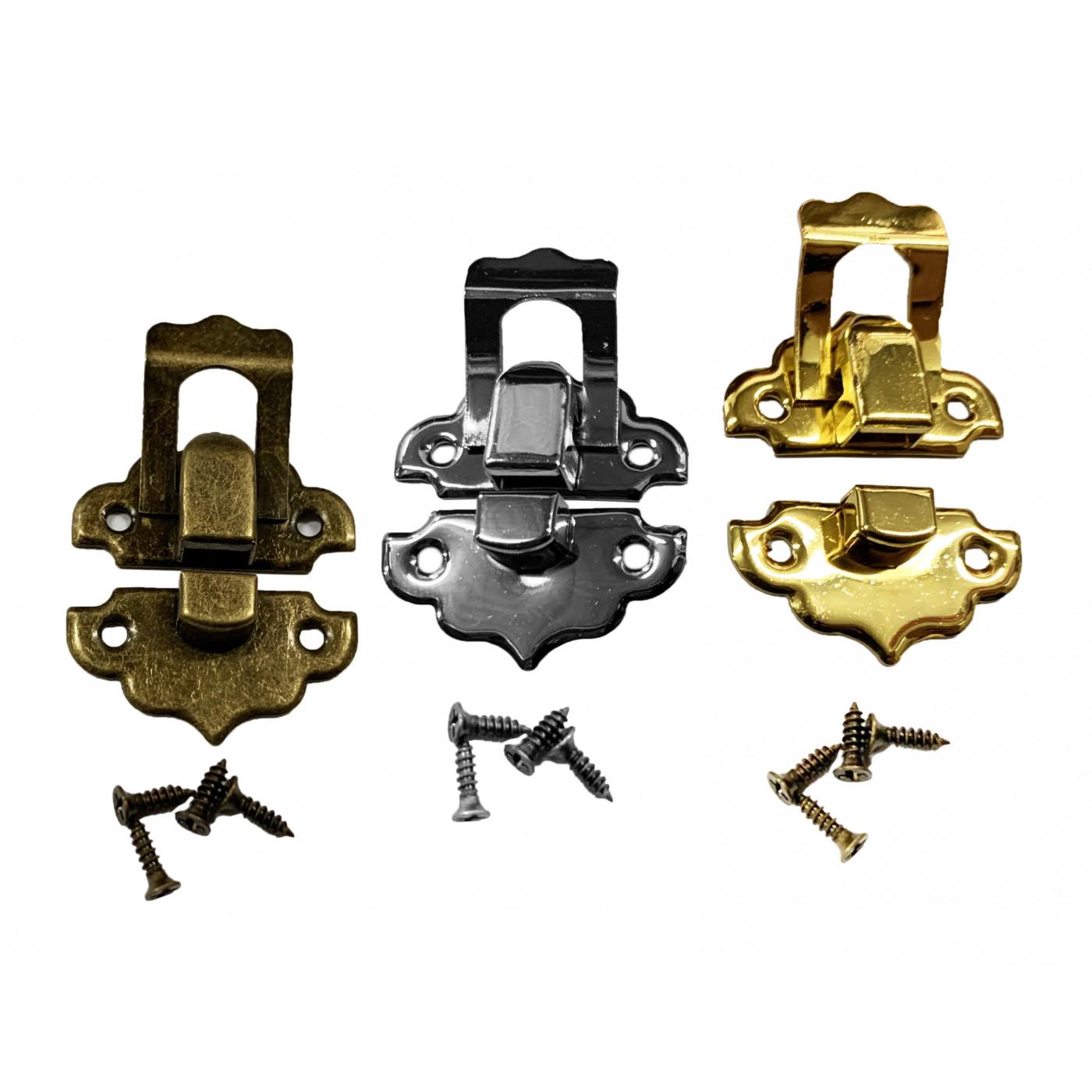 Set of 30 small metal retro box locks (color: nickel)