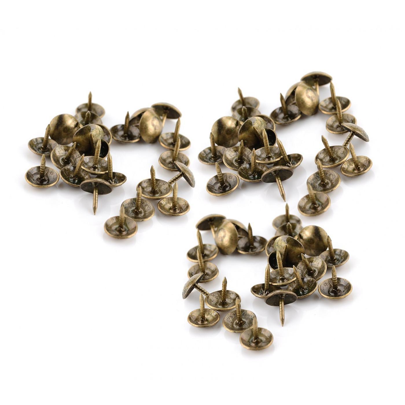 Set of 100 furniture nails (push pins, 9x10 mm, bronze, type 3)
