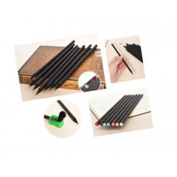 Zestaw 40 czarnych drewnianych ołówków z diamentem  - 2