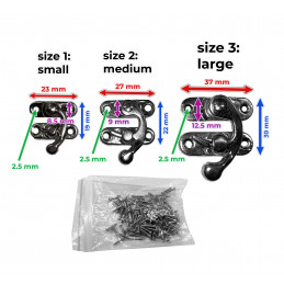 Set of 30 metal box locks (size 2, black)