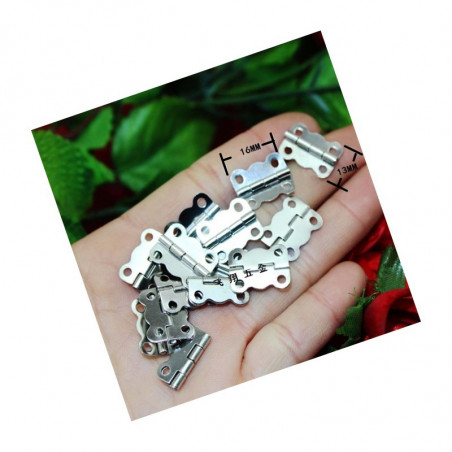 Set of 40 small hinges, silver color (16x13 mm)