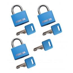 Set von 3 Vorhängeschlössern (20 mm, blau, mit 4 Schlüsseln)