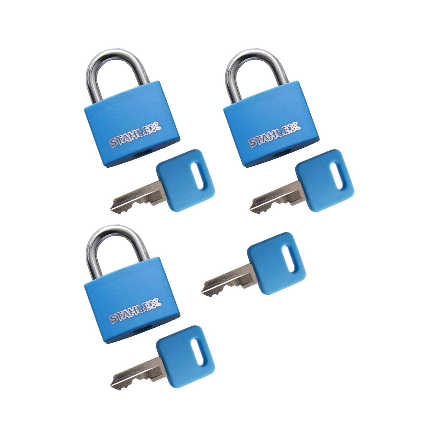 Set von 3 Vorhängeschlössern (20 mm, blau, mit 4 Schlüsseln)  - 1