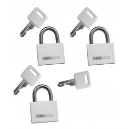Set von 3 Vorhängeschlössern (30 mm, weiß, mit 4 Schlüsseln)