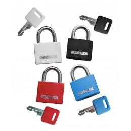Set of 3 padlocks (20 mm, red, with 4 keys)