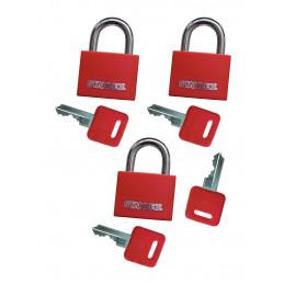 Set von 3 Vorhängeschlössern (20 mm, rot, mit 4 Schlüsseln)