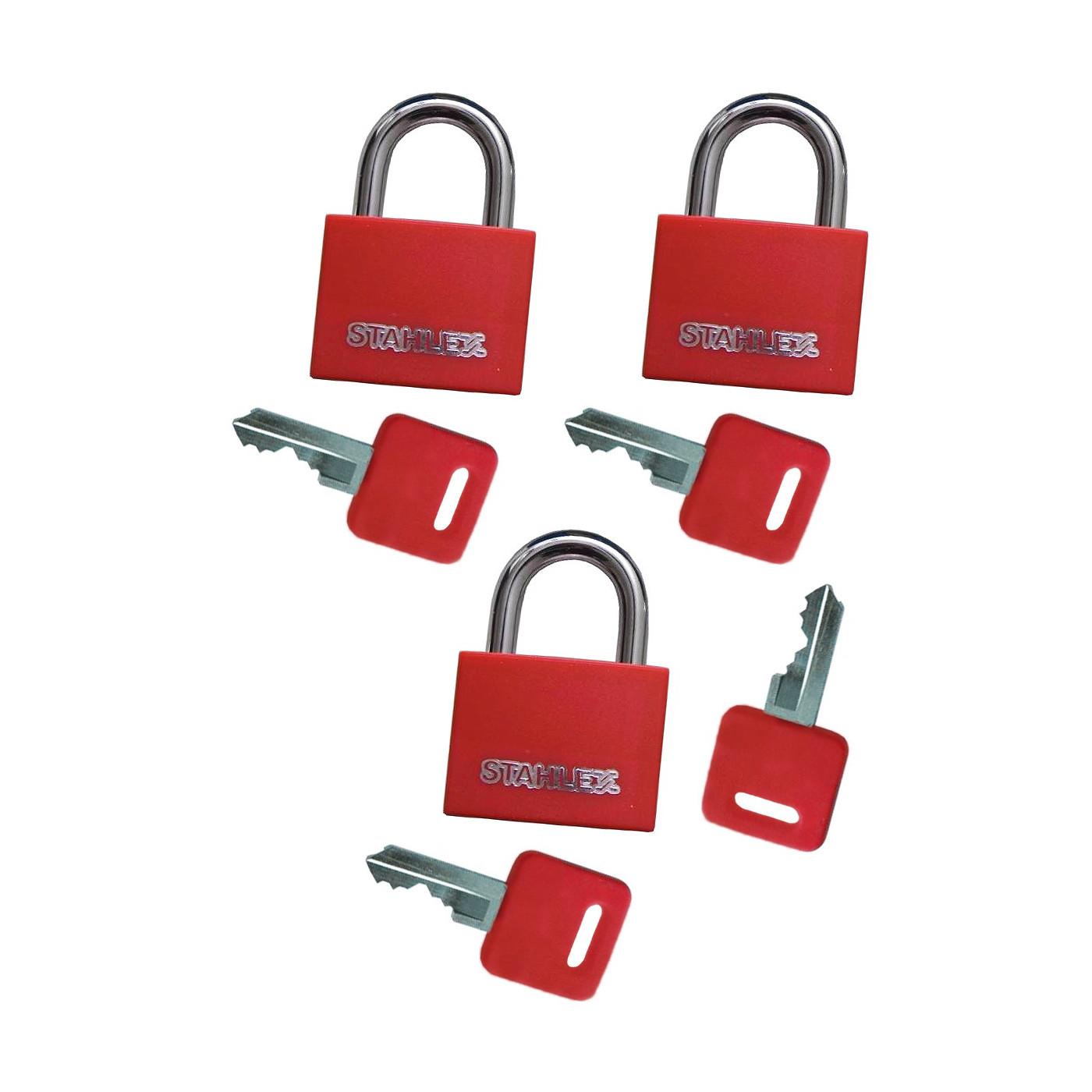 Set von 3 Vorhängeschlössern (30 mm, rot, mit 4 Schlüsseln)