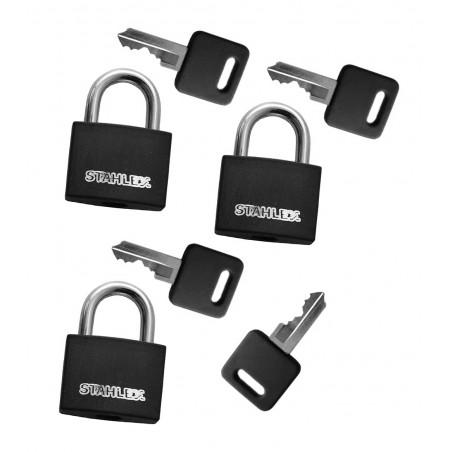Set von 3 Vorhängeschlössern (30 mm, schwarz, mit 4 Schlüsseln)