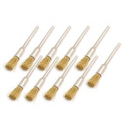 Set von 30 Metalldrahtbürsten (Messing), Zylinder, 3,175 mm