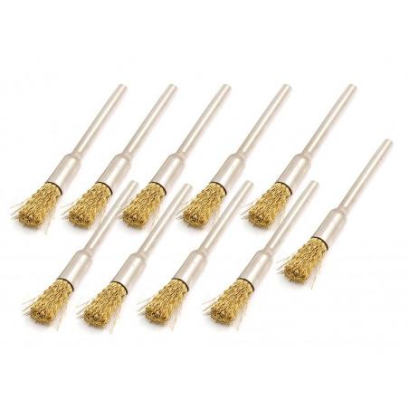 Set von 30 Metalldrahtbürsten (Messing), Zylinder, 3,175 mm  - 1