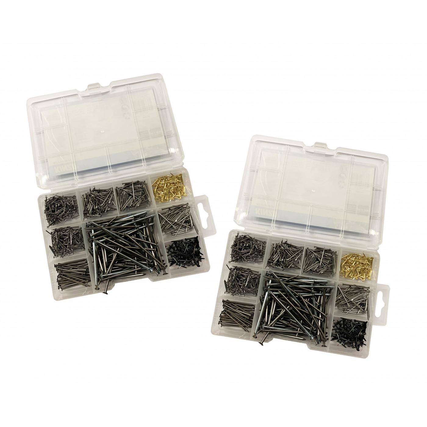 Set van 1950 metalen spijkers (mix assortiment, 13-80 mm lengte)