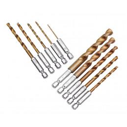 Conjunto de 10 brocas de metal (eixo sextavado)  - 1