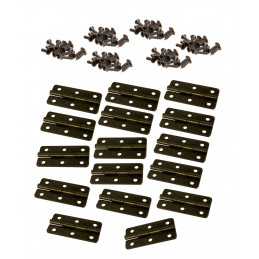 Set of 16 bronze hinges (20x40 mm, including screws)