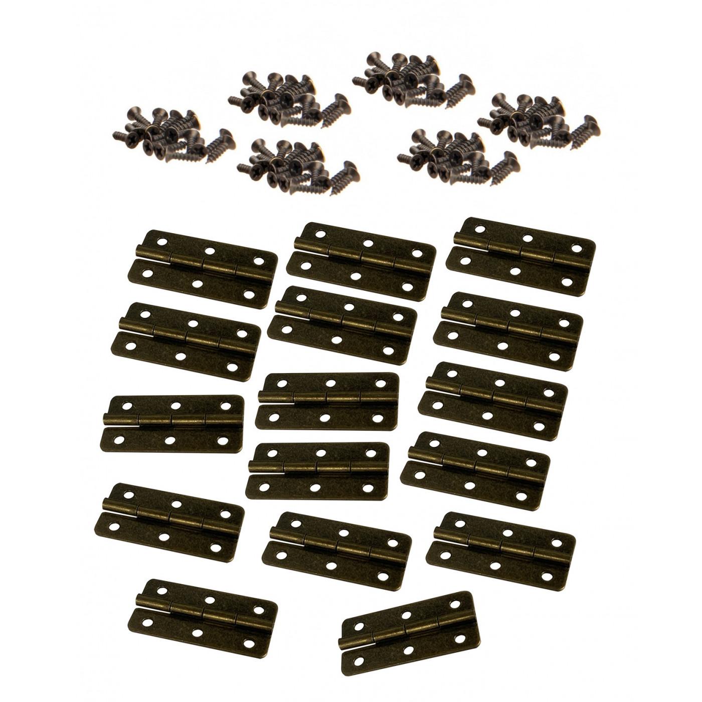Set van 16 scharniertjes (20x40 mm, brons) inclusief schroefjes