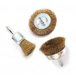 Conjunto de 3 escovas de metal (eixo de 6,35 mm) para furadeira elétrica  - 1