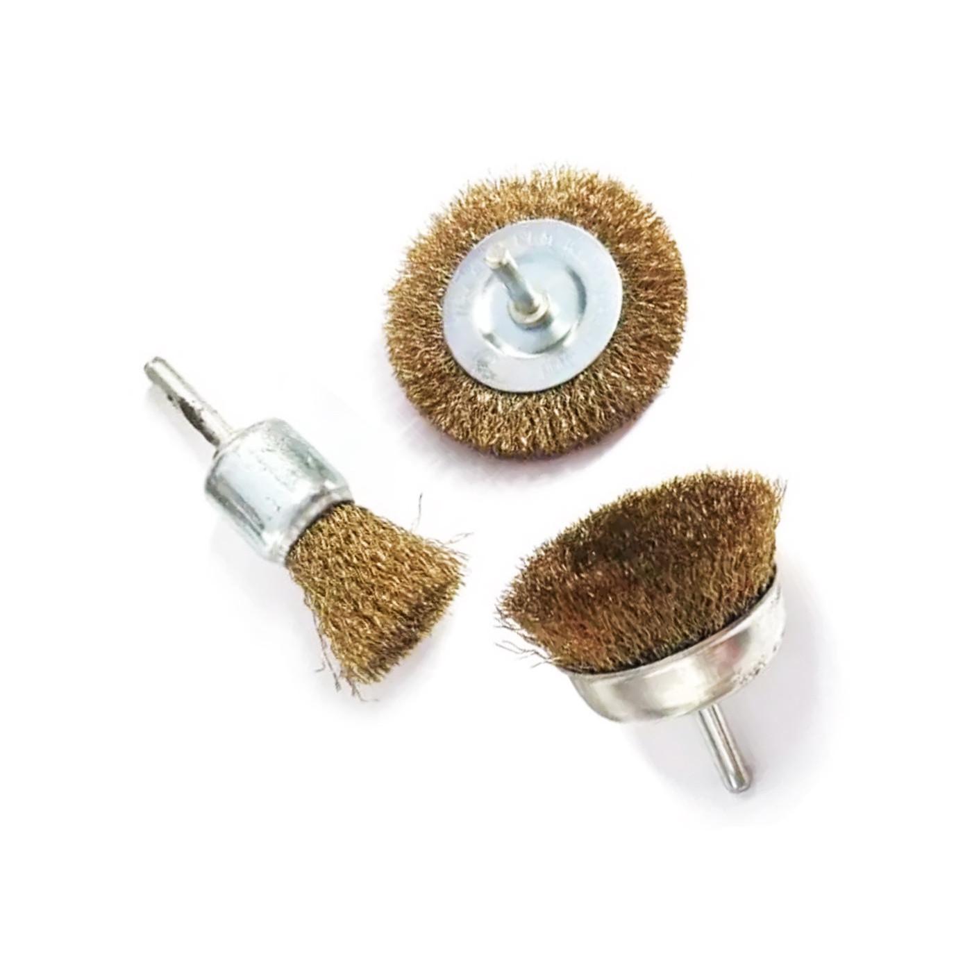 Zestaw 3 metalowych szczotek (trzonek 6,35 mm) do wiertarki elektrycznej  - 1