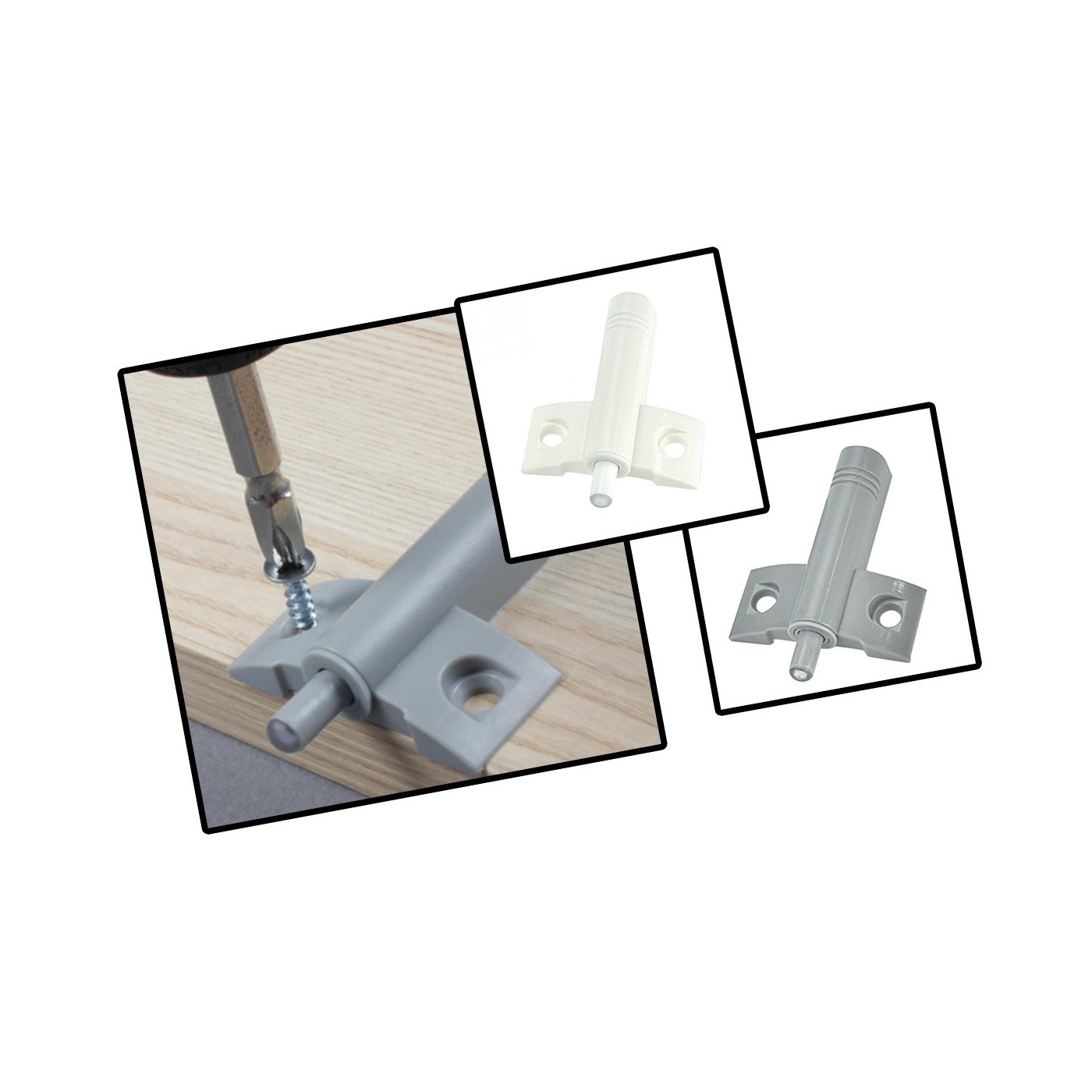 Set von 10 Kunststoff-Türklappen (grau, einschließlich Schrauben, zum Öffnen drücken)  - 1