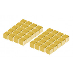 Ensemble de 40 aimants puissants (or, cube: 5x5x5 mm)