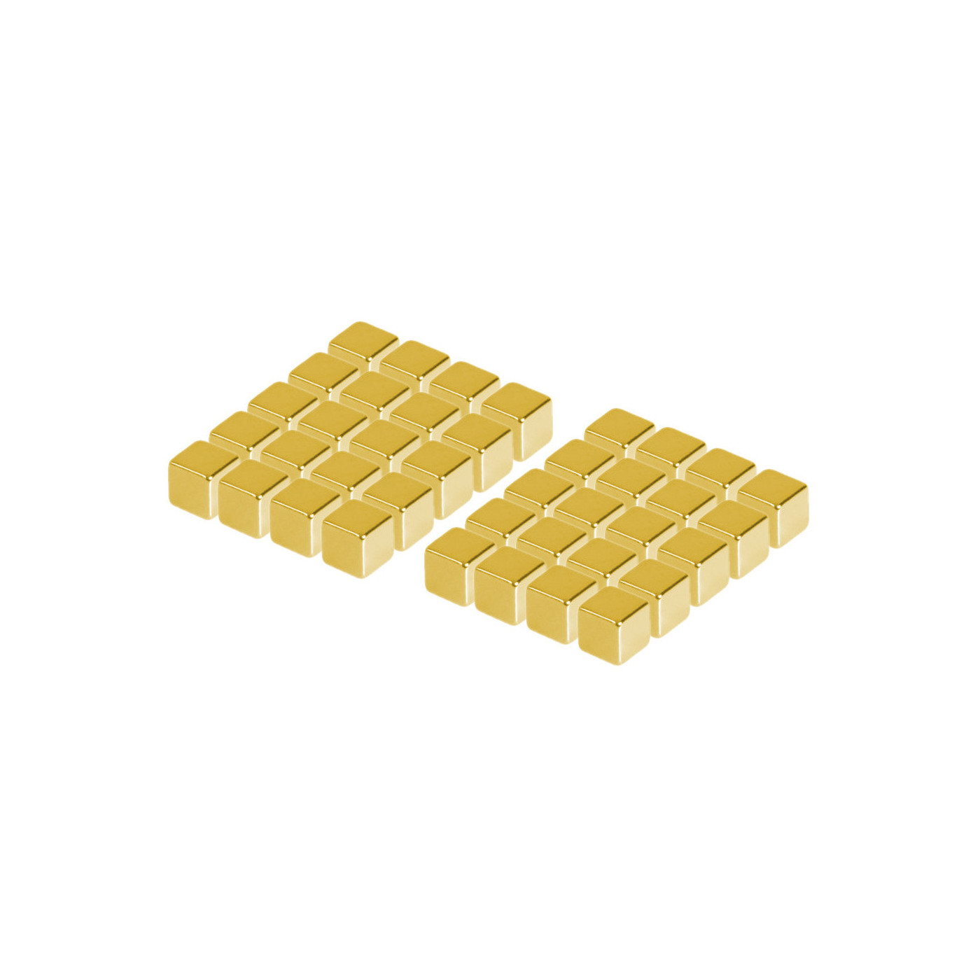 Zestaw 40 silnych magnesów (złoty, sześcian: 5x5x5 mm)  - 1