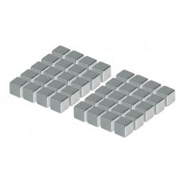 Zestaw 40 silnych magnesów (srebrny, sześcian: 5x5x5 mm)