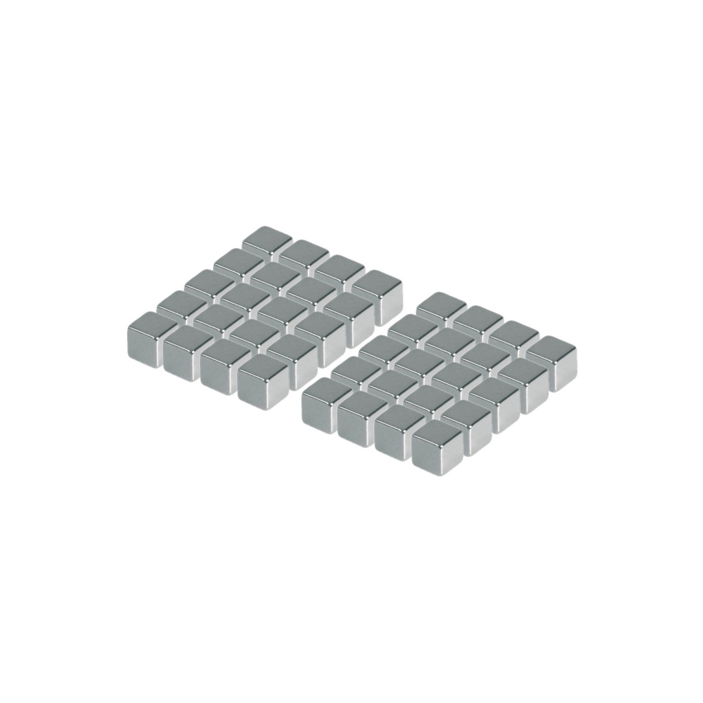 Set of 40 strong magnets (silver, cube: 5x5x5 mm)  - 1