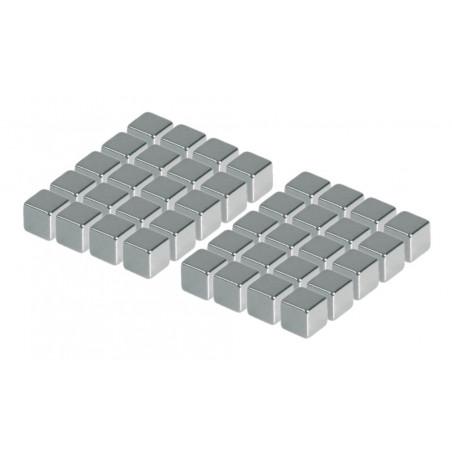 Zestaw 40 silnych magnesów (srebrny, sześcian: 5x5x5 mm)  - 1